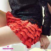 【SHOWCASE】俏麗多層次荷葉蛋糕短褲裙(紅)