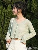 鉤花鏤空蕾絲衫外搭開衫春裝女小衫很仙的上衣防曬衫短款復古 ◣怦然心動◥
