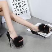性感高跟鞋16cm魚嘴鞋17cm恨天高細跟超高跟防水毛毛女鞋 tx535【雅居屋】