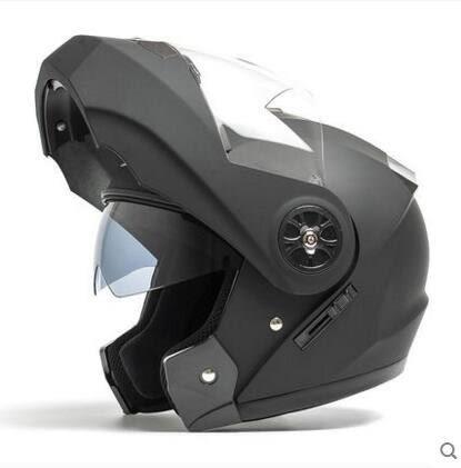 AD摩托車頭盔男摩托車機車頭盔女全覆式安全帽電動車雙鏡片【106啞黑透明鏡】