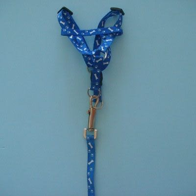 1.2米狗鍊+胸帶(藍色)/狗繩/頸圈 /項圈/牽繩/寵物用品