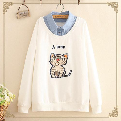 *ORead*日系森女貓咪刺繡假兩件薄款t恤(4色F碼)