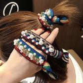 【NiNi Me】韓系髮飾 氣質甜美珍珠柳釘豹紋彩虹髮圈髮束 髮束 H9451