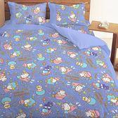 【享夢城堡】三麗鷗 55週年太空風系列-單人床包組(藍紫)