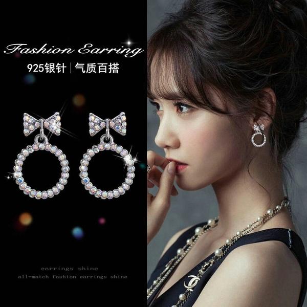 【免運到手價$98】新品彩鑽簡約韓國耳釘女百搭耳墜小清新氣質個性蝴蝶耳環