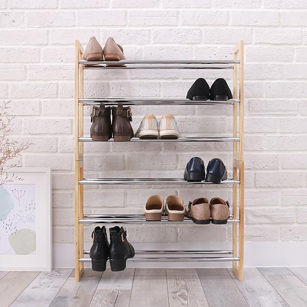 簡配版三層可堆疊伸縮式鞋架 原木鞋架 鞋櫃 簡易DIY【立格扉ligfe】
