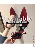 高跟鞋-羅馬涼鞋女夏新款韓版百搭尖頭綁帶細跟包頭仙女風高跟鞋 花間公主