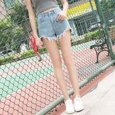 蔓彩婭夏天高腰牛仔短褲女夏韓版寬鬆學生百搭不規則熱褲梗豆物語