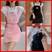 韓系休閒棉質吊帶短裙 共2色 S-L 依米迦