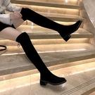 秋季鞋子女百搭高筒靴2020新款英倫風長筒靴網紅超火粗跟過膝靴子 小山好物