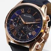 [萬年鐘錶] BULOVA 寶路華  防水 三眼 計時碼錶   深藍錶面  皮錶帶 男錶  46mm 97B170