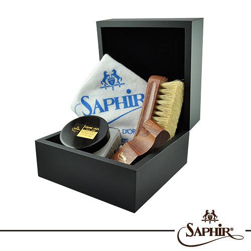 【SAPHIR莎菲爾-金質】錶盒式皮革鞋蠟禮盒-真皮皮鞋上蠟補色保養推薦入手禮盒