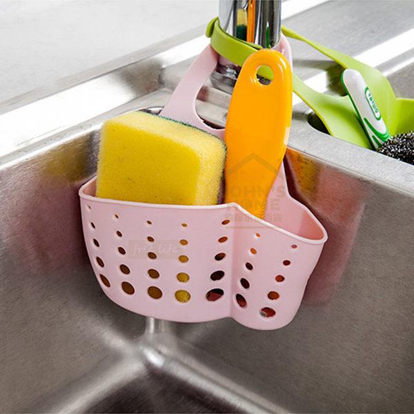 約翰家庭百貨》【AA171】鈕扣式廚房水槽海綿菜瓜布大收納掛籃 水龍頭收納掛袋 隨機出貨