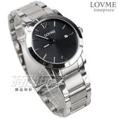 LOVME 簡約數字風格品味 藍寶石抗磨水晶玻璃 不銹鋼帶 男錶 黑色 日期顯示窗 VS3190M-2S-321