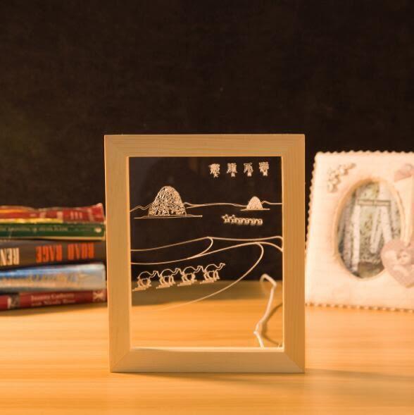 3d立體相框小夜燈USB插口書桌燈相框裝飾燈