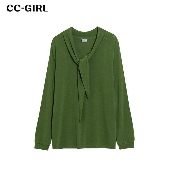 中大尺碼 V領領巾設計上衣~共三色-適XL~4L《 69062 》CC-GIRL
