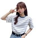 EASON SHOP(GW5925)韓版復古橫條紋薄款長版撞色領圓領短袖T恤女上衣服落肩寬鬆內搭衫素色棉T閨蜜裝