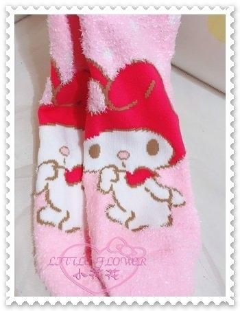 ♥小花花日本精品♥Hello Kitty 美樂蒂Melody毛襪棉襪保暖襪站姿吸手指粉色冬天必備 56814101