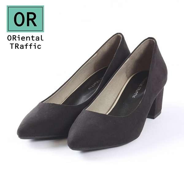 【ORiental TRaffic】百搭亮色尖楦粗跟鞋-百搭黑