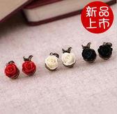 ►全區49折►耳環 復古玫瑰花不對稱耳釘 耳飾【B1034】