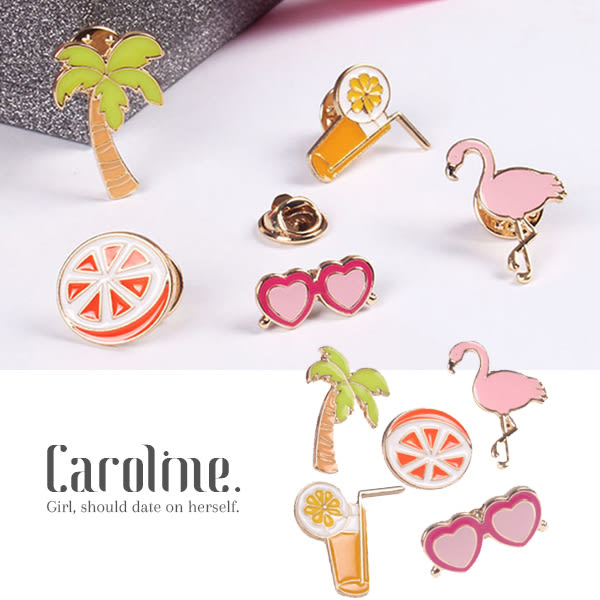 《Caroline》★ 造型時尚日韓穿搭必備夏季海灘派對設計感十足甜美彩色卡通別針領針69544
