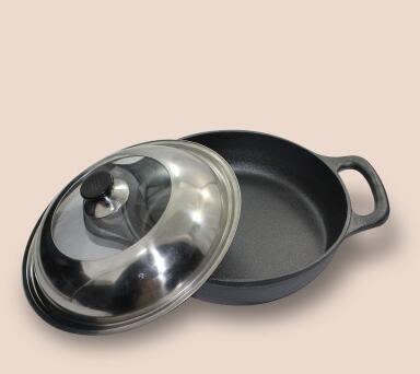 幸福居*老式鑄鐵鍋加厚平底鍋煎炒鍋無塗層烙餅煎餃不粘鍋電磁爐通用(33公分單鍋+可視鍋蓋)