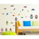 【收藏天地】創意生活*可愛機器人火箭壁貼/ 家飾 居家 裝飾 佈置 環保