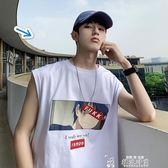 男裝夏季卡通印花無袖T恤男潮韓版寬鬆汗衫街頭嘻哈打底背心  韓流時裳