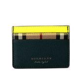【BURBERRY】Haymarket 格紋拼雙色皮革卡片夾(黃/黑)4065210