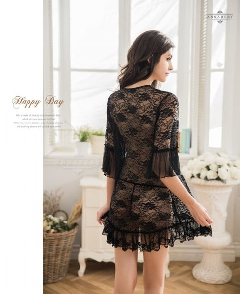 969情趣~ 大尺碼Annabery魅惑黑色透視柔紗罩衫丁字褲二件組