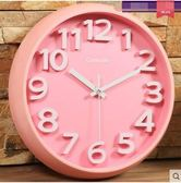 凱諾時創意掛鐘客廳臥室靜音時尚鐘錶 (14寸圓形)圓形,粉色