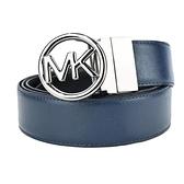 【南紡購物中心】MICHAEL KORS防刮MK鏤空圓牌素色雙面用皮帶-海軍藍/黑