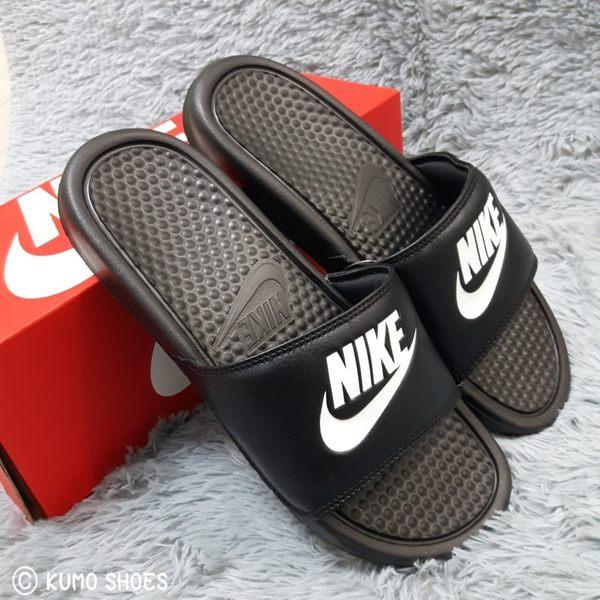 Nike 拖鞋 Benassi JDI 黑底 白字 343880 090