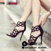 涼鞋/羅馬鏤空高跟鞋綁帶魚口細跟露趾女「歐洲站」