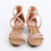 DeSire  交叉水鑽羅馬涼鞋 -粉