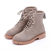 MICHELLE PARK 滿分搭檔 霧面質感馬汀登山靴-灰可可