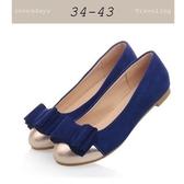 大尺碼女鞋小尺碼女鞋圓頭蝴蝶結質感小裂紋拼色舒適絨布平底鞋娃娃鞋包鞋工作鞋藍色(34-44)