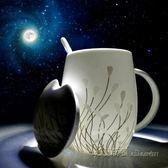 帶蓋帶勺大容量簡約喝水杯子家用陶瓷水杯女創意馬克杯【米蘭街頭】