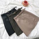 (全館一件免運)DE SHOP~(WT-5761)簡約純色高腰顯瘦包臀A字短裙皮裙