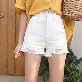 牛仔褲春夏正韓高腰寬鬆顯瘦百搭做舊破洞牛仔褲闊腿褲直筒褲學生短褲女