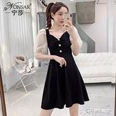 法式洋裝 寧莎2020夏季法式新款拼接網紗復古褶皺原宿港風V領顯瘦洋裝女