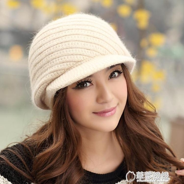 毛帽-公主兔 帽子 女 冬季兔毛帽 秋冬天韓版毛線帽 針織帽雙層保暖 潮 草莓妞妞