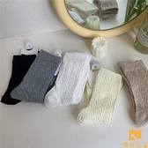 3雙裝 中筒襪韓國麻花浮雕立體法式氣質日系素色潮女【慢客生活】
