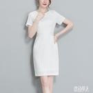 ol洋裝 夏季新款氣質職業裝條紋短袖連身裙 工作服修身顯瘦包臀裙 TR817『紅袖伊人』
