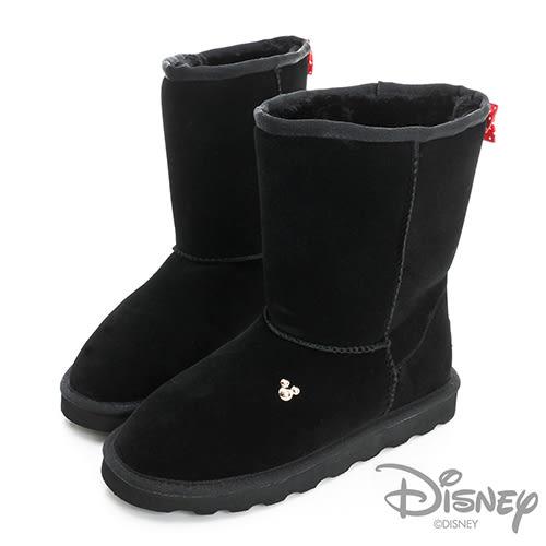 Disney 後側蝴蝶結 中筒雪靴-黑(女)