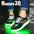 迷彩塗鴉風綁帶情侶休閒LED螢光帆布鞋-黑35-44【AAA0177】預購