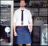 原創定制LOGO餐廳咖啡烘焙服務員男女真皮半身牛仔工作圍裙LG-882077