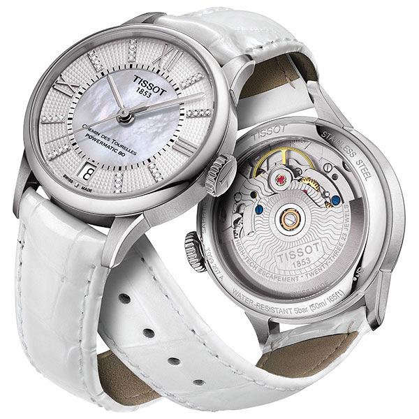 TISSOT 天梭 杜魯爾系列真鑽機械動力80手錶-珍珠貝x白/32mm T0992071611600