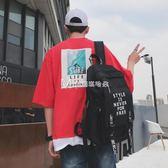 日韓個性青年書包男時尚潮流學院風英倫初高中大學生韓版雙肩背包  瑪奇哈朵