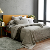 法國CASA BELLE《皇室香緹》加大天絲刺繡四件式防蹣抗菌吸濕排汗兩用被床包組 灰色